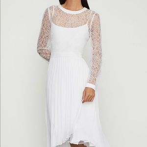 BCBGMAXAZRIA Asymmetrical Pleated Lace Dress